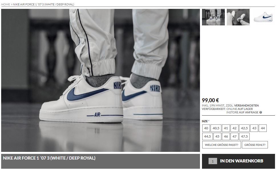 Nike Air Force 1 White Blue Swoosh – hier kaufen   snkraddicted