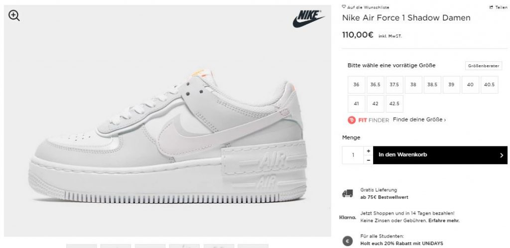 Nike Air Force 1 Shadow Grey Pink – hier kaufen   snkraddicted