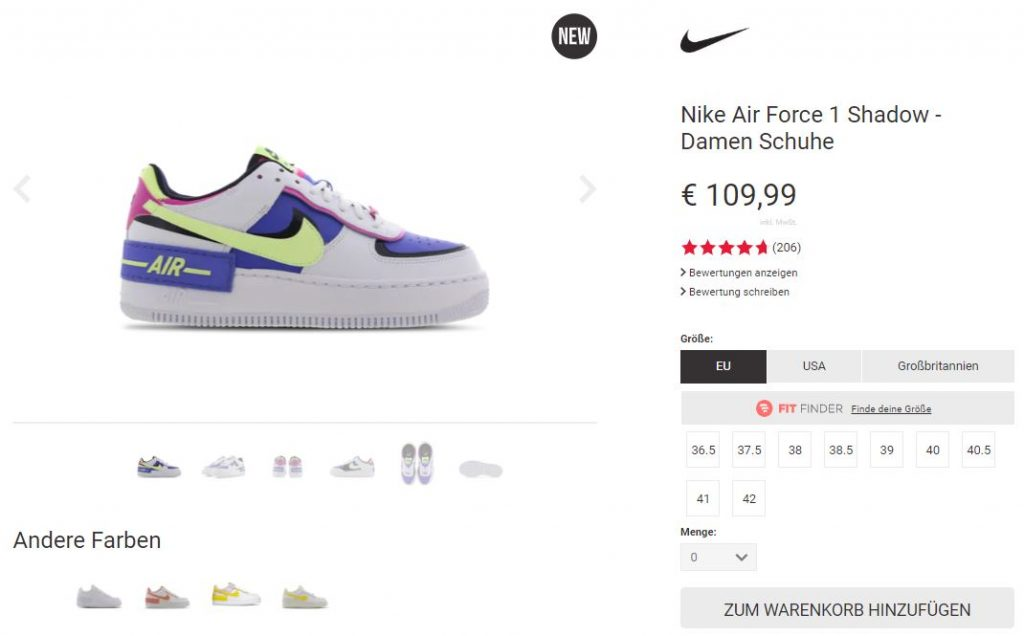 Nike Air Force 1 Shadow Sapphire – hier kaufen | snkraddicted